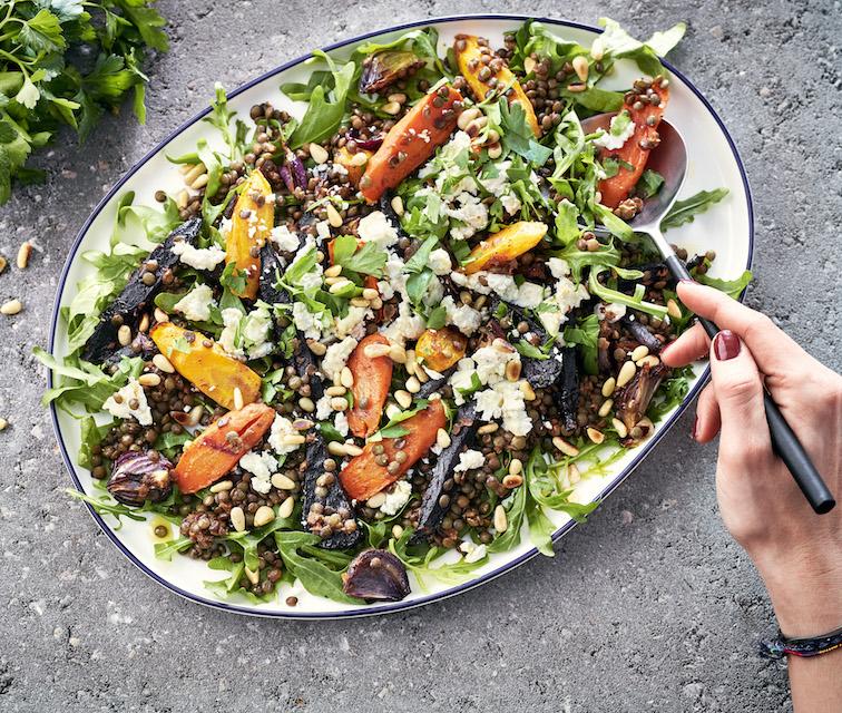 Bio Salade tiède de carottes au cumin, lentilles et fromage de chèvre
