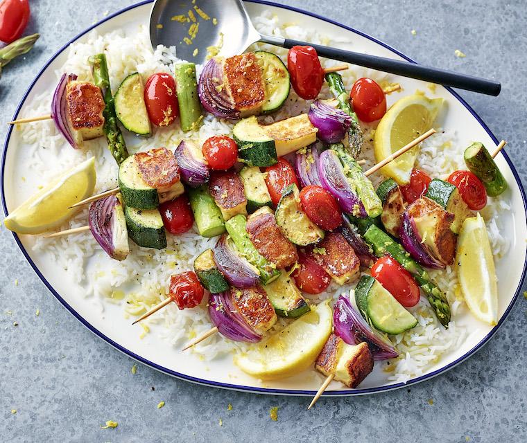 Brochettes de légumes et haloumi