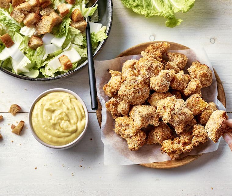 Chou-fleur croustillant et salade César